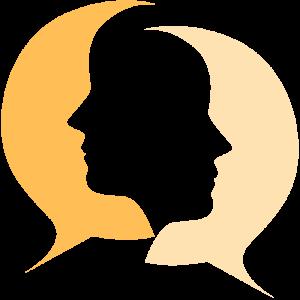 Zwei Sprechblasen in Gesichtsform
