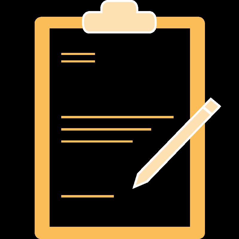 Pictogramm Notiztafel mit Stift